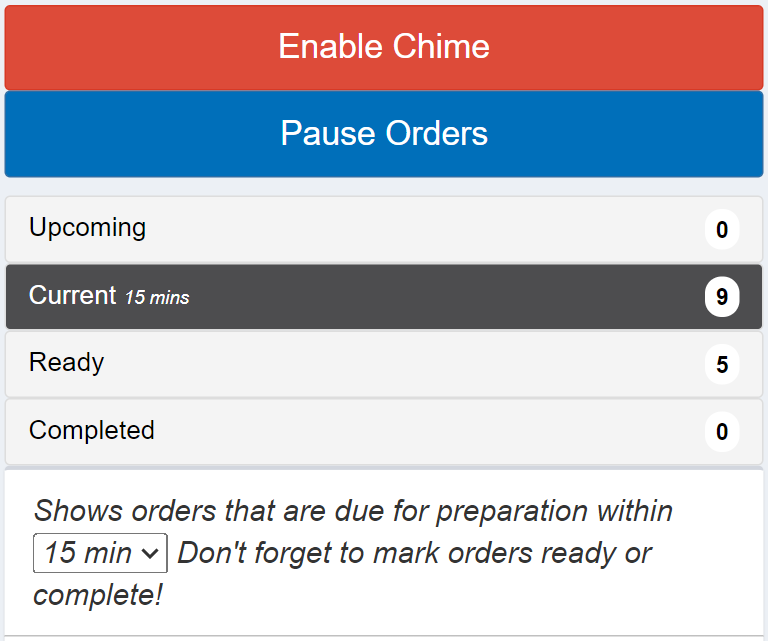 pause orders buttons