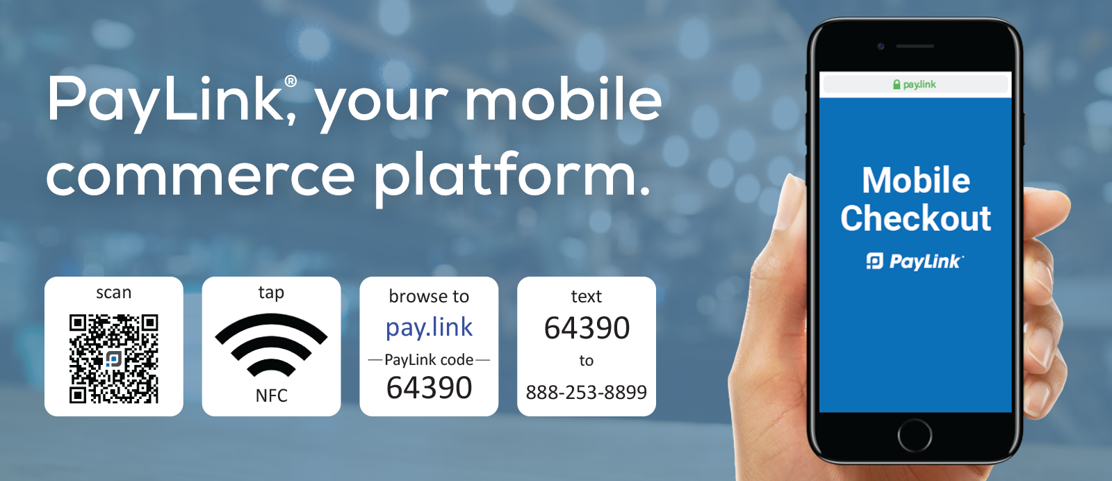 PayLink mobile ordering and contactless payments with QR codes, NFC tags and SMS text messaging.